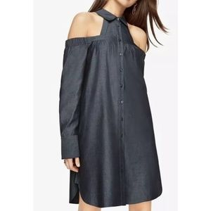 BCBG MAXAZRIA ROWAN COLD-SHOULDER SHIRT DRESS